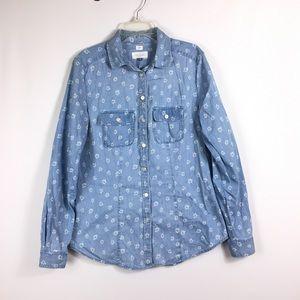LOFT The Softened Shirt Chambray Button Down Shirt